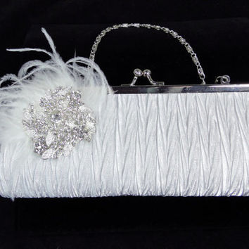 Bridal Clutch Purse White Pleated Satin with Rhinestone Brooch and Feathers