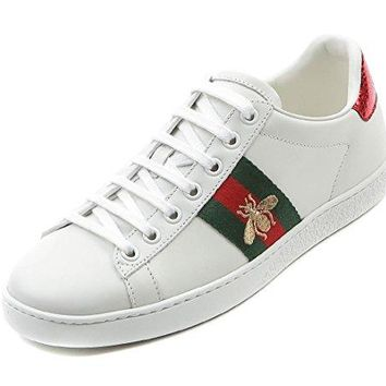 Wiberlux Gucci Women's Embroidered Bee Accent Lace-Up Sneakers
