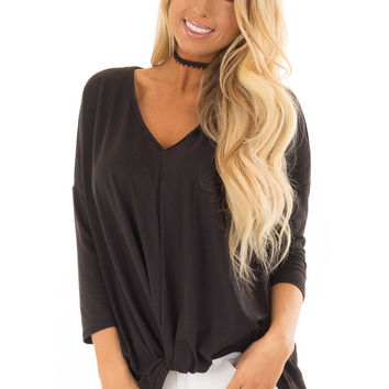 Black 3/4 Sleeve Top with Front Twist Detail