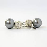 Small Gray Faux Pearl and Crystal Beaded Leverback Earrings - Handmade Dangle Earrings - Bridesmaid & Wedding Jewelry - Ready to Ship
