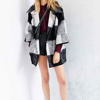 Cooperative Furry Plaid Coat- Black & White