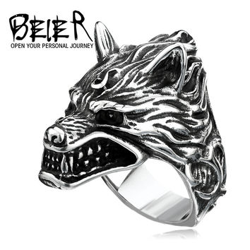 BEIER Stainless Steel Wolf Head Ring For Man Cool Punk Man's Fashion Animal Jewelry Best Gift for Friend High Quality BR8-160