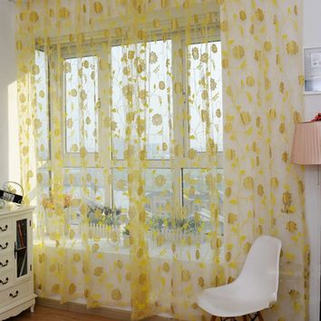 Hot ! new For Rose Floral Sheer Voile Curtain Door Window Room Drape Curtain Divider Scarf Fashion