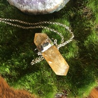 Citrine Crystal Princess Pendant with Long Silver Chain