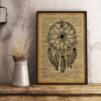 Dreamcatcher Dictionary Print, Vintage Dreamcatcher, Old Dictionary Poster, Native art Dictionary print Tribal print, Office Decor (D01)