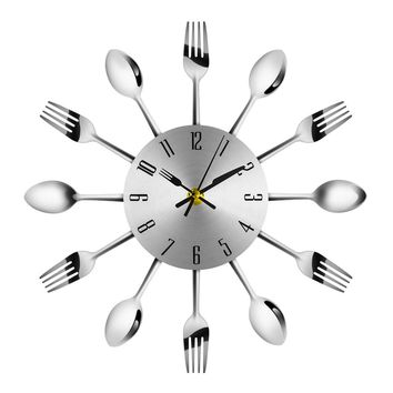 Novel Stainless Steel Knife Fork Spoon Analog Wall Clock Kitchen Decor