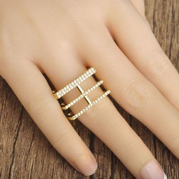 Square Style Triple Band Fashion Ring