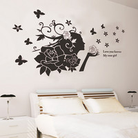 """Rose Girl"" Silhouette Pattern Removable PVC Wall Sticker"