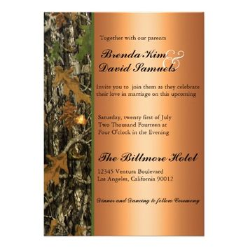 Hunting Camo Leaves Wedding Invitation