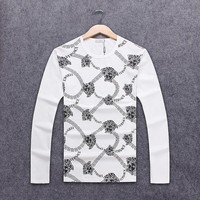 Versace 2018 autumn new trend men's slim round neck pullover sweater white