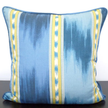 Indigo blue ikat pillow cover 18x18 denim blue and yellow striped cushion cover color block pillow dorm room decor navy blue couch pillow