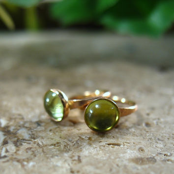 Gemstone Hoop Earrings Gold Peridot