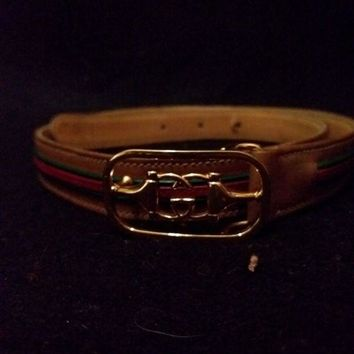 ONETOW VINTAGE GUCCI BELT WOMEN'S RED GREEN, BROWN GG LOGO 70 23
