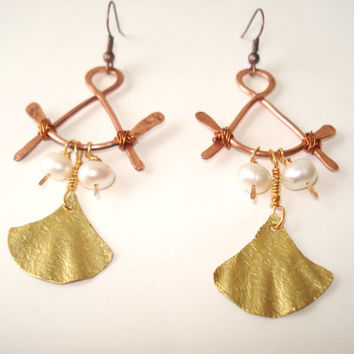 Unique-Handmade Jewelry-Foldformed Bronze Earrings-Hand Hammered-Copper Wire-Wire Wrapped-Fresh Water Pearls-Fold Formed-Mixed Metal Earring