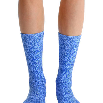 Pebble Blue Crew Socks