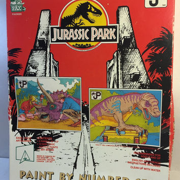Jurassic Park Paint by Number Set, 1992, Never Opened!