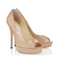Nude Patent Platform Pumps | Elegant Peep Toe Shoes | Crown | JIMMY CHOO Pumps