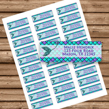 Mermaid Baby Shower Return Address Labels - Mermaid Birthday Party Return Address - Mermaid Tail - Teal - Purple - Glitter - Label