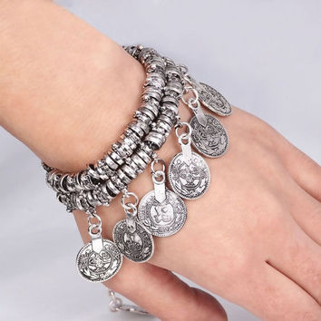 Hot Turkish Jewelry Bohemian Ethnic Vintage Silver Coin Bracelet Anklet (Color: Silver) = 1928855236