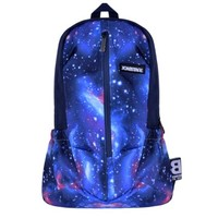 Galaxy Neon Colorful Endless Universe with Twinkling Blue Stars Canvas Backpack Laptop Bag