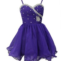 Staychicfashion Womens Pleated Beaded Top Purple Short A Line Ruched Prom Dress