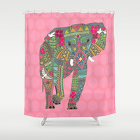 painted elephant pink Shower Curtain by Sharon Turner