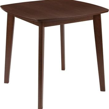 Whitman 31.5'' Square Walnut Finish Wood Dining Table with Clean Lines and Braced Legs