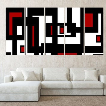 Geometric wall art canvas print, mid century modern art, extra large wall art print, black and white red canvas square fine art print t538