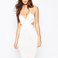 NaaNaa Cross Front Bodycon Midi Dress With Cut Out Back at asos.com