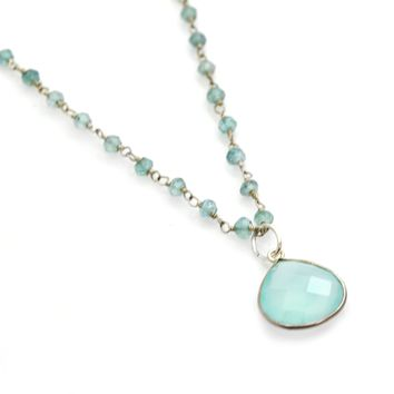 Apatite Rosary Sterling Silver Chain