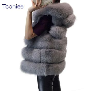 Women's Vest Hooded Cap Fur 2017 Fashion Luxury Thick Warm Vest Faux Fox Hair Down Coat Jacket Solid Color Fur Vests Women Coats