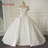 Wedding gowns luxury satin with lace pearls wedding dress ball gown