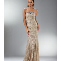 (PRE-ORDER) 2014 Prom Dresses - Gold Hibiscus Lace Mermaid Gown