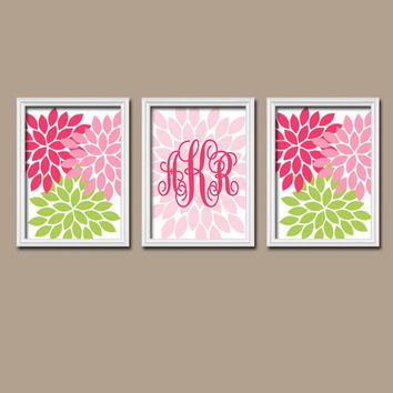 Pink Green Custom Cursive Monogram Flower Burst Letter Initial Set of 3 Prints WALL ART Decor Abstract Bedroom Girl NURSERY Crib Baby