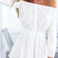 Streetstyle  Casual Casual Off Shoulder White Romper