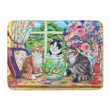 Cats Just Looking in the fish bowl Machine Washable Memory Foam Mat CDCO0325RUG