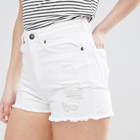 Vero Moda Petite High Waisted White Denim Shorts