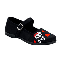 Last Pieces!!! Cute Skull Hearts Canvas Ballet Flats Goth Punk emo