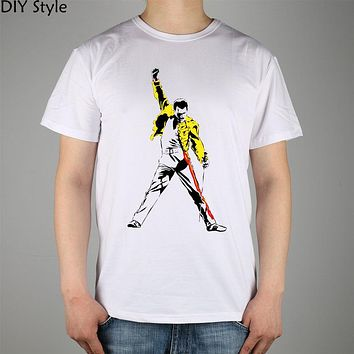 FREDDIE MERCURY TRIBUTE victory T-shirt cotton Lycra top Queen Band 3019 Fashion Brand t shirt men new DIY Style high quality