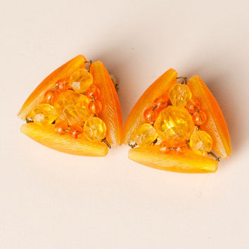 Vintage Orange Bead Clip On Earrings Marked Hong Kong