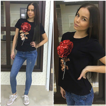 Jojo 2016 Brand New Summer t shirt female white black ladies 3d rose flower sequin tops t-shirt for women camisetas mujer