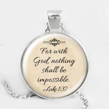 Hot sale 2016 Fashion Jesus Jewelry Christian Necklace Faith With God Nothing is Impossible Quote Jewelry Glass Saying  Silver Plated