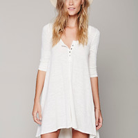 Plain Sleeve Loose Asymmetrical Dress