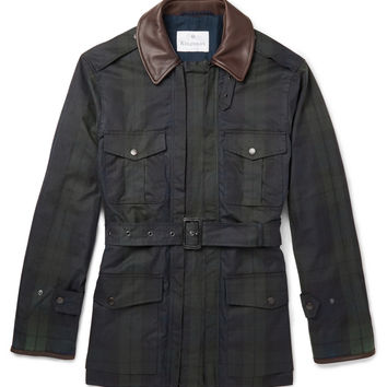 Kingsman - Black Watch Waxed-Cotton Field Jacket with Leather Trims | MR PORTER