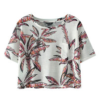 Tropical Printed Short Sleeves Crop Top