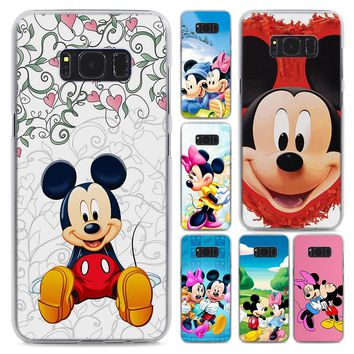 Cute Mickey Minnie Mouse style Transparent frame hard Case Cover for Samsung Galaxy S6 S7 Edge S8 S9 Plus Note9 8 Note 5