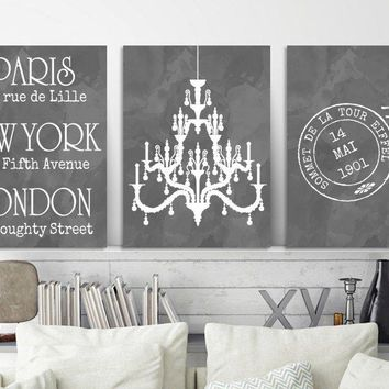 Paris London New York Wall Art, Watercolor Chandelier Bedroom Art, CANVAS or Print, Paris Travel Theme, Bathroom Vanity Room Decor Set of 3