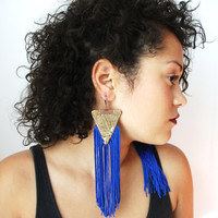 $21.89 Triangle vintage gold fabric and cobalt fringe earrings by SMgems