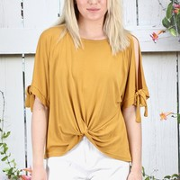 Front Twist Open Sleeve Modal Top {Mustard}