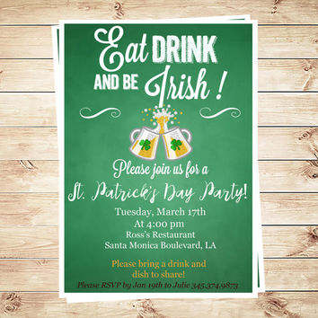 Printable St Patrick day party invitations, St Patrick day printables, Leprechaun Birthday Party Invitations, Art Party Invitation
